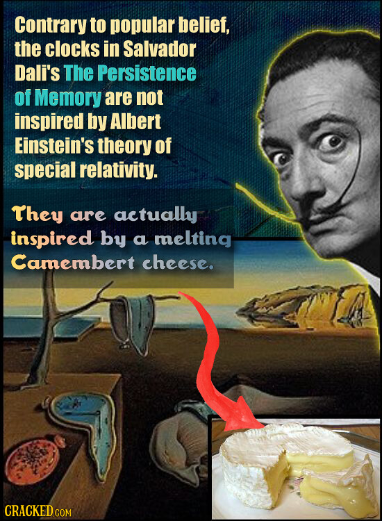 Contrary to popular belief, the clocks in Salvador Dali's The Persistence of Memory are not inspired by Albert Einstein's theory of special relativity