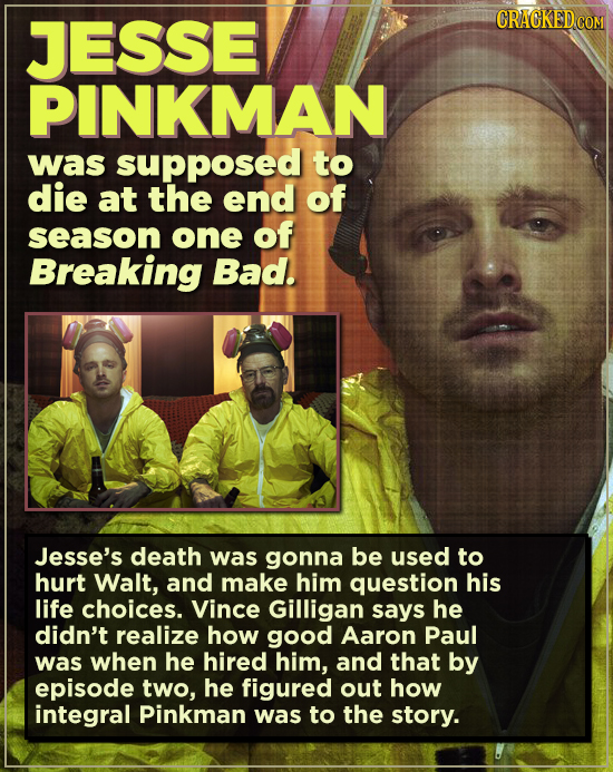 JESSE PINKMAN was supposed to die at the end of season one of Breaking Bad. Jesse's death was gonna be used to hurt Walt, and make him question his li