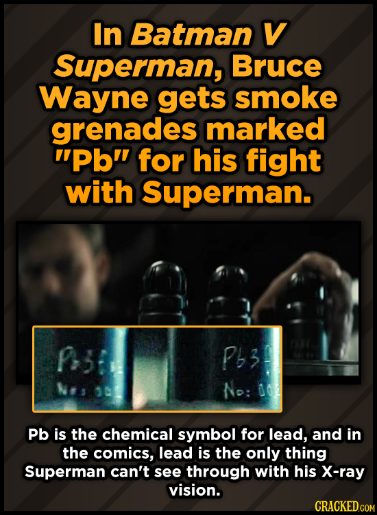 In Batman V Superman, Bruce Wayne gets smoke grenades marked pb for his fight with Superman. p3 P63 No: 6 Pb is the chemical symbol for lead, and in