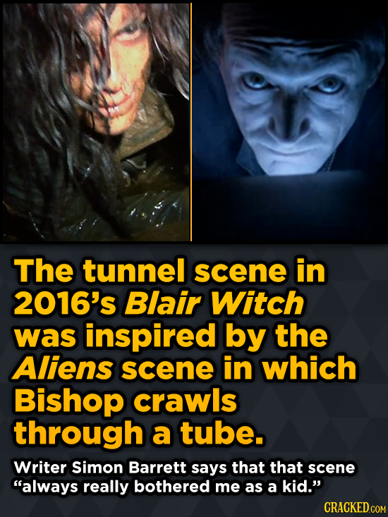 The tunnel scene in 2016's Blair Witch was inspired by the Aliens scene in which Bishop