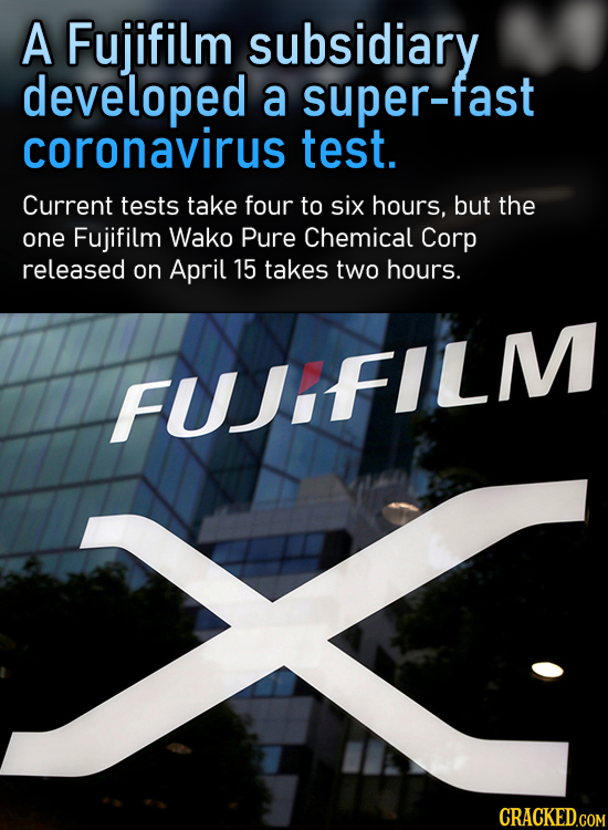 A Fujifilm subsidiary developed a super-fast coronavirus test. Current tests take four to six hours, but the one Fujifilm Wako Pure Chemical Corp rele