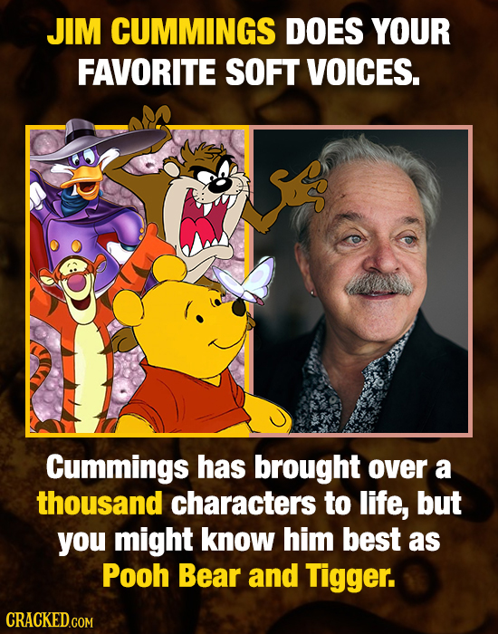 JIM CUMMINGS DOES YOUR FAVORITE SOFT VOICES. Cummings has brought over a thousand characters to life, but you might know him best as Pooh Bear and Tig