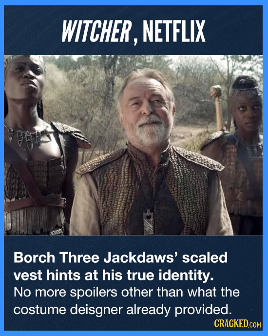 WITCHER, NETFLIX Borch Three Jackdaws' scaled vest hints at his true identity. No more spoilers other than what the costume deisgner already provided.