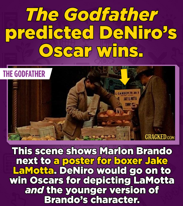 The Godfather predicted DeNiro's Oscar wins. THE GODFATHER GARDENI This scene shows Marlon Brando next to a poster for boxer Jake LaMotta. DeNiro woul