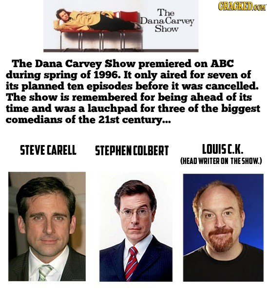 CRACKEDeo The Dana Carvey Show The Dana Carvey Show premiered on ABC during spring of 1996. It only aired for seven of its planned ten episodes before