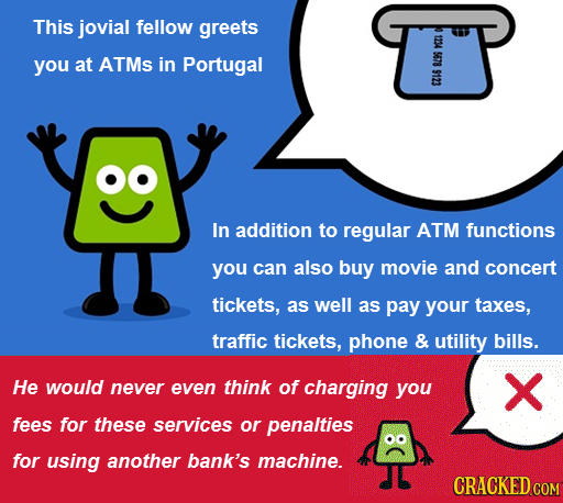 This jovial fellow greets 1234 you at ATMs in Portugal 5678 09 In addition to regular ATM functions you can also buy movie and concert tickets, as wel
