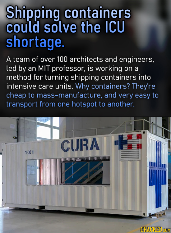 Shipping containers could solve the ICU shortage. A team of over 100 architects and engineers, led by an MIT professor, is working on a method for tur