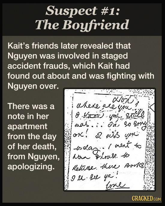 Suspect #1: The Boyfriend Kait's friends later revealed that Nguyen was involved in staged accident frauds, which Kait had found out about and was fig