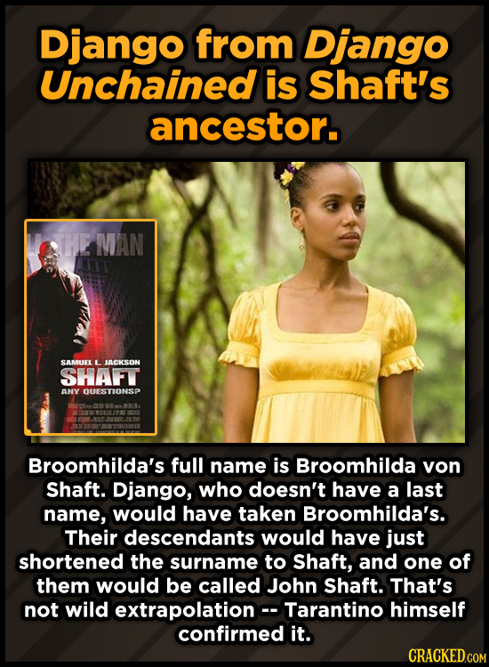 Django from Django Unchained is Shaft's ancestor. HE MAN SAMUEL L. ACKSON SHAFT ANY OUESTIONSP Broomhilda's full name is Broomhilda von Shaft. Django,