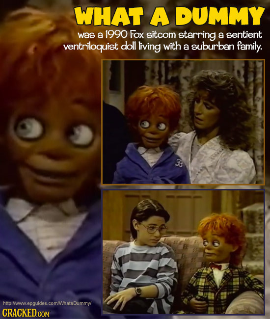 WHAT A DUMMY was a 1990 Fox sitcom starring a sentient ventriloquist doll living with a suburban family. http:/ww.epquides.com/hataDummyl