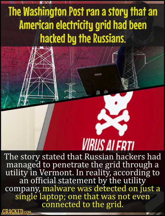 The Washington Post ran a story that an American electricity grid had been hacked by the Russians. VIRUS Al FRTI The story stated that Russian hackers