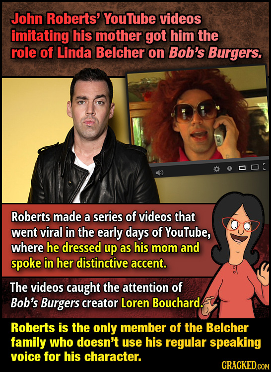 John Roberts' YouTube videos imitating his mother got him the role of Linda Belcher on Bob's Burgers. Roberts made a series of videos that went viral