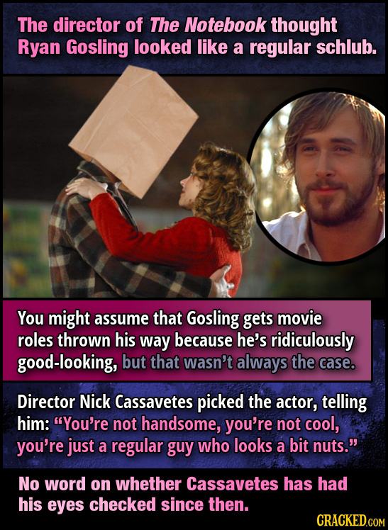 The director of The Notebook thought Ryan Gosling looked like a regular schlub. You might assume that Gosling gets movie roles thrown his way because