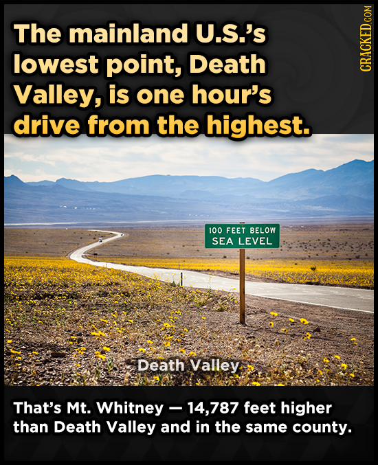 The mainland U.S.'s lowest point, Death CRACKED COM Valley, is one hour's drive from the highest. 100 FEET BELOW SEA LEVEL Death Valley That's Mt. Whi