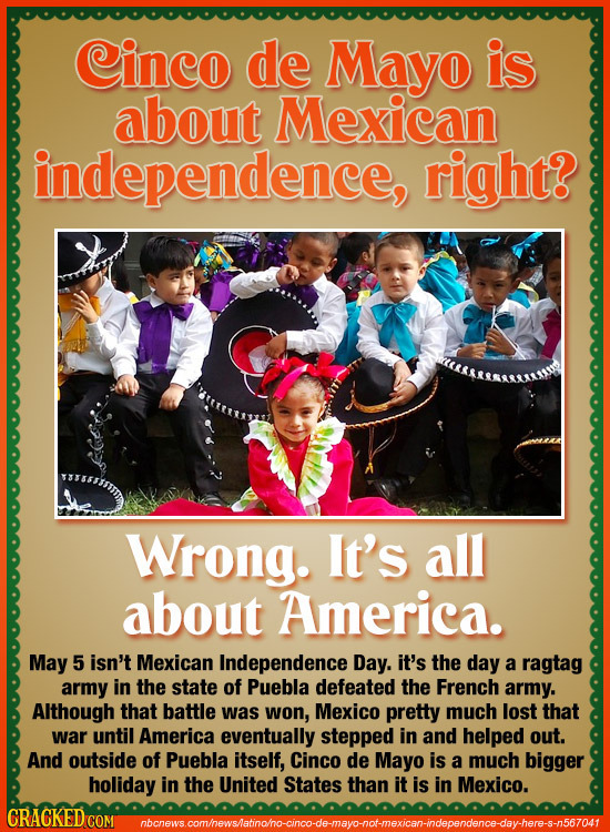 Cinco de Mayo is about Mexican independence, right? Wrong. It's all about America. May 5 isn't Mexican Independence Day. it's the day a ragtag army in