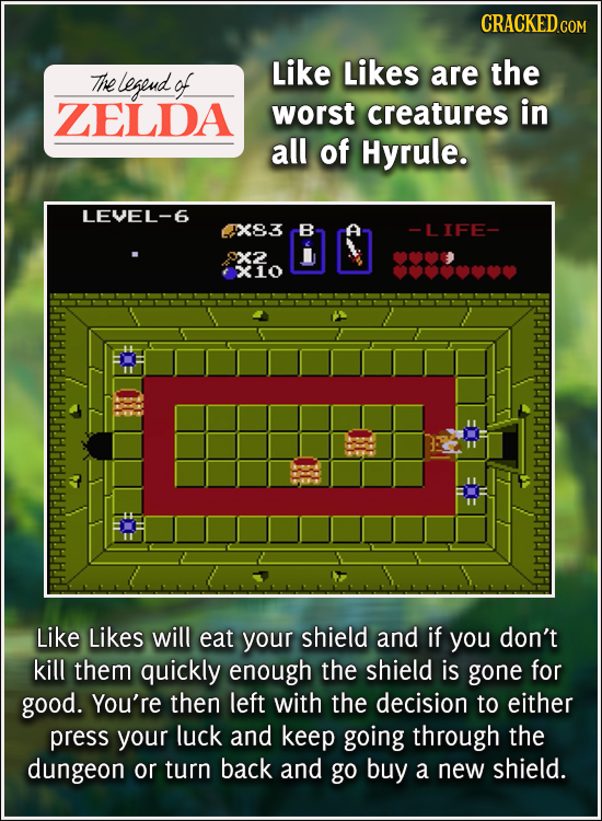 Like Likes The legeud of are the ZELDA worst creatures in all of Hyrule. LEVEL-6 X83 B -LIFE- x2 X10 Like Likes will eat your shield and if you don't