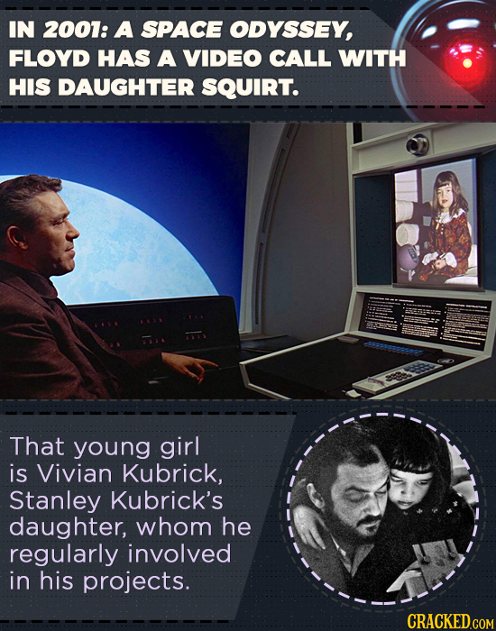 IN 2001: A SPACE ODYSSEY, FLOYD HAS A VIDEO CALL WITH HIS DAUGHTER SQUIRT. That young girl is Vivian Kubrick, Stanley Kubrick's daughter, whom he regu