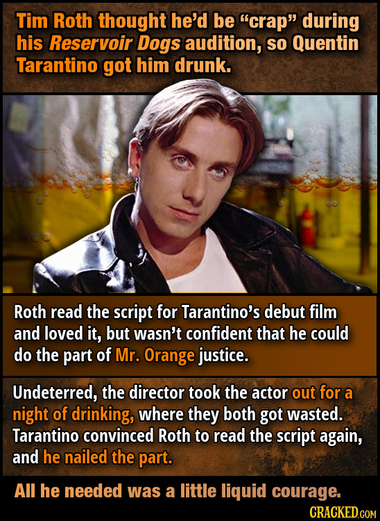 Tim Roth thought he'd be crap during his Reservoir Dogs audition, So Quentin Tarantino got him drunk. Roth read the script for Tarantino's debut fil