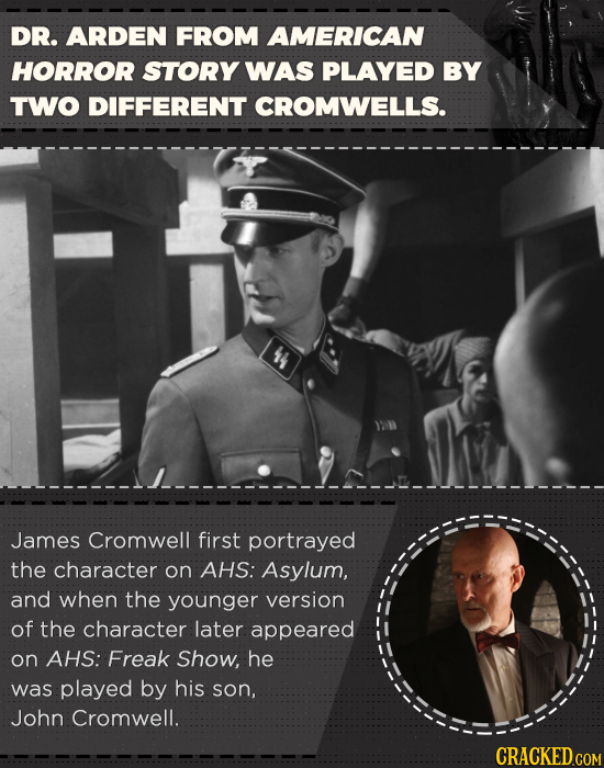 DR. ARDEN FROM AMERICAN HORROR STORY WAS PLAYED BY TWO DIFFERENT CROMWELLS. 44 James Cromwell first portrayed the Character on AHS: Asylum, and when t