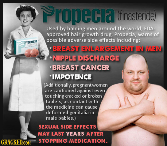 Propecia (finasteride) Used by balding men around the world, FDA- approved hair growth drug, Propecia, warns of possible adverse side effects includin