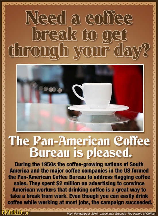 Need a coffee break to get through your day? The Ran-American Coffee Bureau is pleased. During the 1950s the coffee-growing nations of South America a