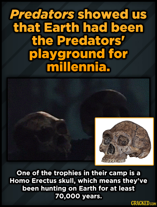 Predators showed us that Earth had been the Predators' playground for millennia. One of the trophies in their camp is a HOMO Erectus skull, which mean