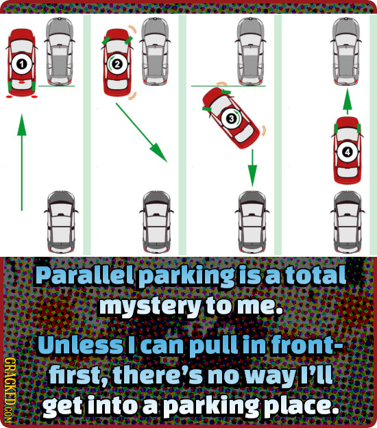 Parallel parking is a total mystery to me: Unless I can Pull in front CRACL frst, there's no way I'LL get into a parking place