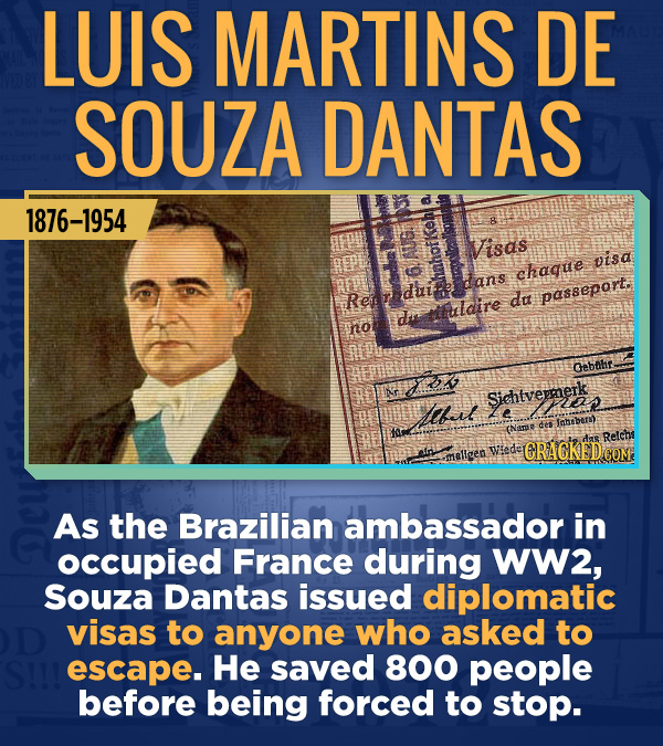 18 Amazing People Too Many Of Us Haven't Heard Of - As the Brazilian ambassador in occupied France during WW2, Souza Santas issued diplomatic visas to