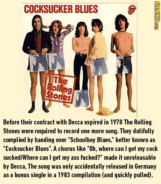 CRACKEDCON COCKSUCKER BLUES Lhe Rolling Stones Before their contract with Decca expired in 1970 The Rolling Stones were required to record one more so