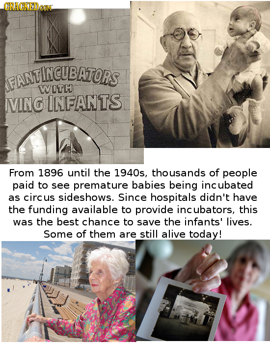 ORACKEDEON ANTINCUBATORS INCUBAS FANT WITC IVING INFANTS From 1896 until the 1940s, thousands of people paid to see premature babies being incubated a
