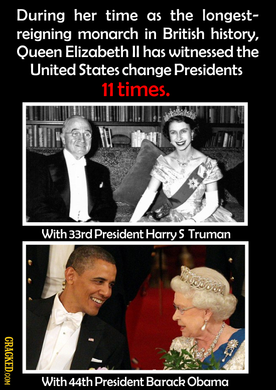 During her time as the longest- reigning monarch in British history, Queen Elizabeth ll has witnessed the United States change Presidents 11 times. Wi