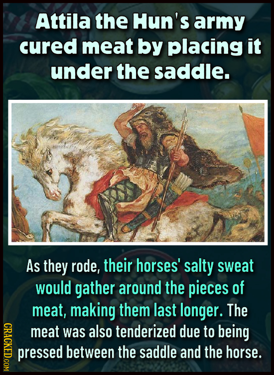 Attila the Hun's army cured meat by placing it under the saddle. As they rode, their horses' salty sweat would gather around the pieces of meat, makin