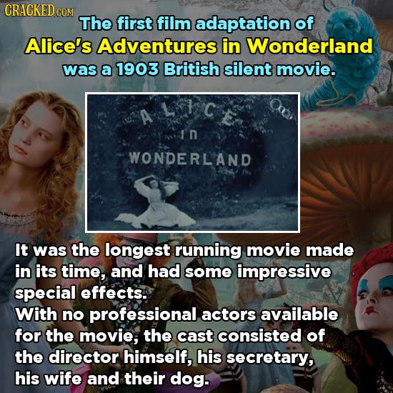 CRACKED c CON The first film adaptation of Alice's Adventures in Wonderland was a 1903 British silent movie. In WONDERLAND It was the longest running