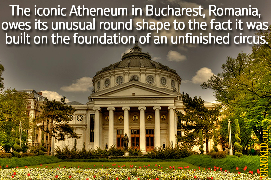 The iconic Atheneum in Bucharest, Romania, owes its unusual round shape to the fact it was built on the foundation of an unfinished circus. COR CRACKE