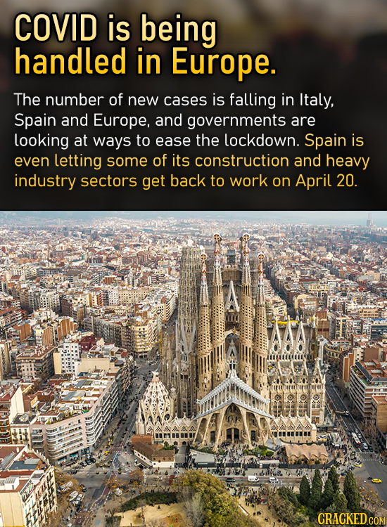 COVID is being handled in Europe. The number of new cases is falling in Italy, Spain and Europe, and governments are looking at ways to ease the lockd