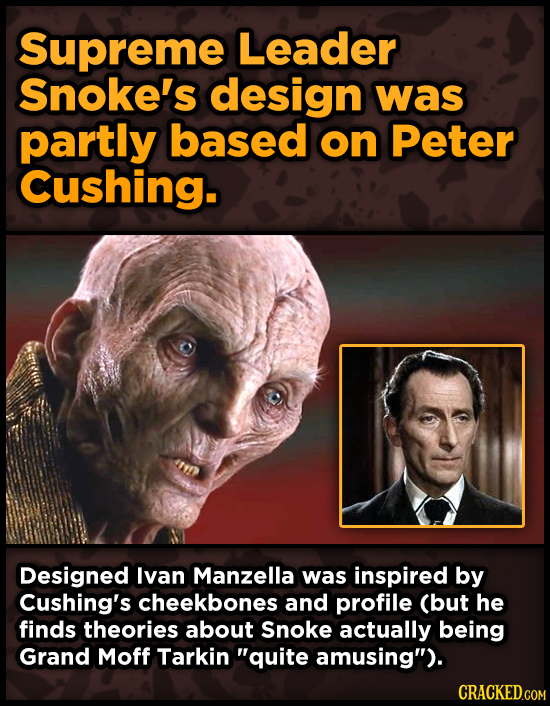 Supreme Leader Snoke's design was partly based on Peter Cushing. Designed lvan Manzella was inspired by Cushing's cheekbones and profile (but he finds