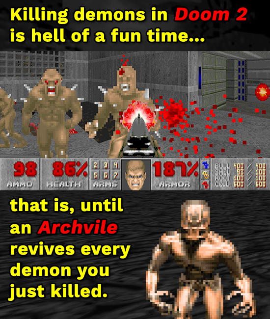 Killing demons in Doom 2 is hell of a fun time... 98 86. 2 3 H 181% BDL HOO DD 3HEL 98 5 G ? ROKT 300 10 Amimo HEALTH ARMS ARMOR CELL. 6OO 600 that is
