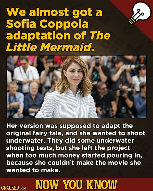 We almost got a Sofia Coppola adaptation of The Little Mermaid. Her version was supposed to adapt the original fairy tale, and she wanted to shoot und