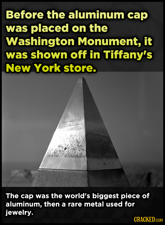 Before the aluminum cap was placed on the Washington Monument, it was shown off in Tiffany's New York store. ai1 uck one h tane The cap was the world'