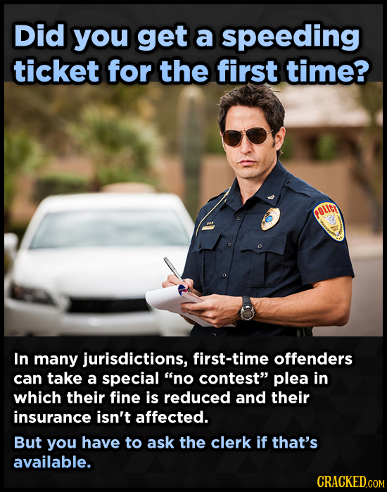 Did you get a speeding ticket for the first time? In many jurisdictions, first-time offenders can take a special no contest plea in which their fine