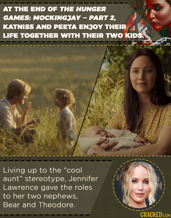 AT THE END OF THE HUNGER GAMES: MOCKINGJAY- PART 2, KATNISS AND PEETA ENJOY THEIR LIFE TOGETHER WITH THEIR TWO KIDS. Living up to the COol aunt ster