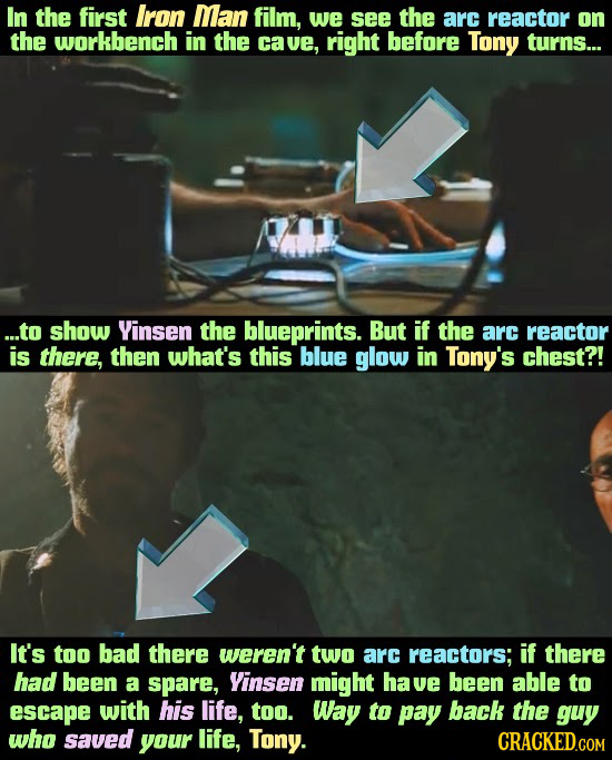 In the first Iron Man film, we see the arc reactor on the workbench in the cave, right before Tony turns... ...to show Yinsen the blueprints. But if t