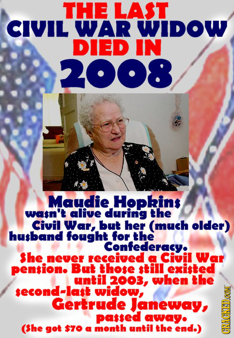 THE LAST CIVIL WAR WIDOW DIED IN 2008 Maudie Hopkins wasn't alive during the Civil War, but her (much older) husband fought for the Confederacy. She n