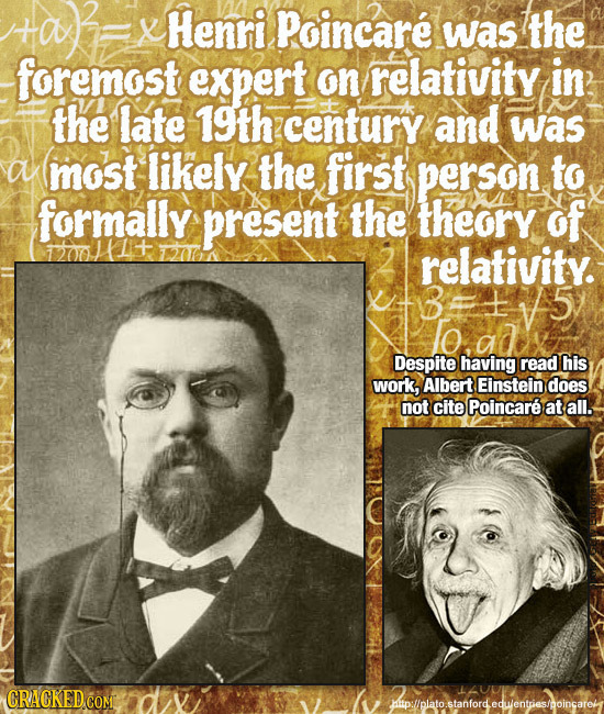 X Henri Poincare was the foremost expert on relativity in the late 19th century and was a most likely the first person to formally present the theory