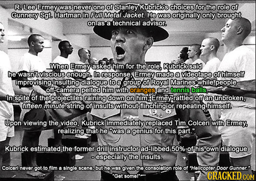 R. Lee Ermey was never one of Stanley Kubrick's choices for the role of Gunnery Sgt. Hartman in Full Metal Jacket He was originally only brought onas
