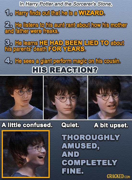 In Harry Potter and the Sorcerer's Stone, 1o Harry finds out that he is a WIZARD. 2. He listens to his aunt rant about how his mother and father were