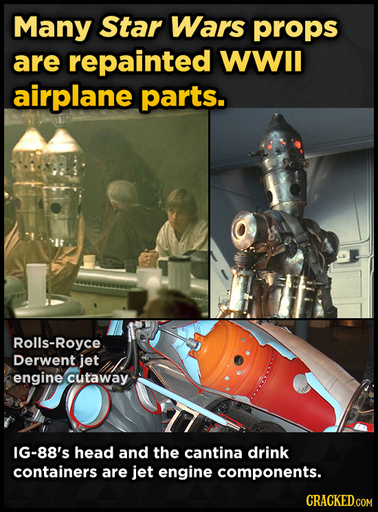 Many Star Wars props are repainted WWIl airplane parts. Rolls-Royce Derwent jet engine cutaway IG-88's head and the cantina drink containers are jet e