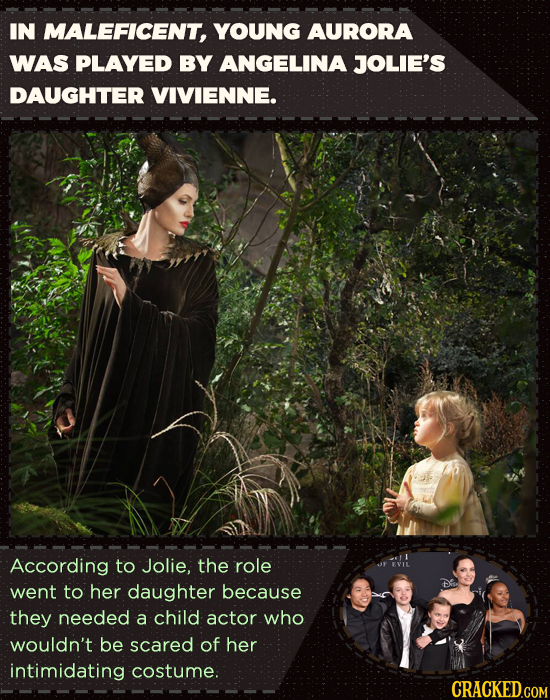 IN MALEFICENT, YOUNG AURORA WAS PLAYED BY ANGELINA JOLIE'S DAUGHTER VIVIENNE. According to Jolie, the role UF EVIL went to her daughter because they n