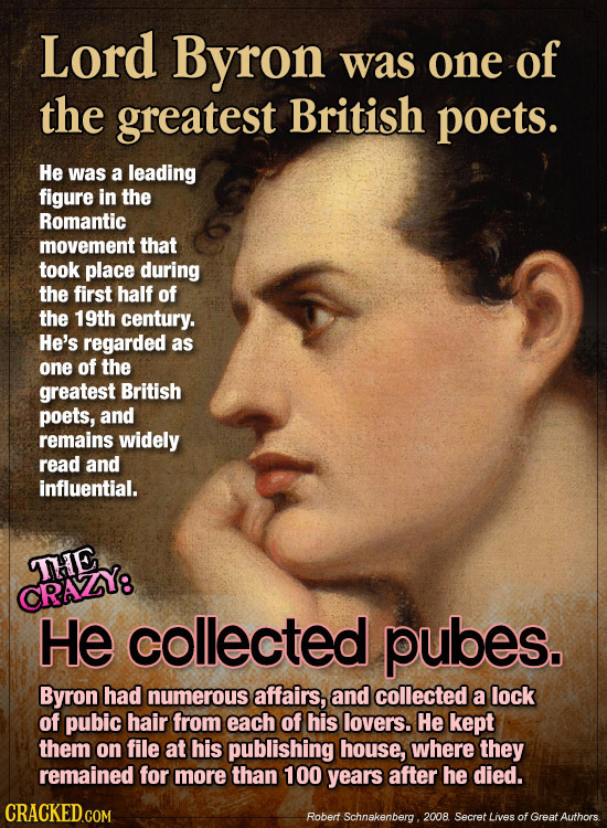 Lord Byron was one of the greatest British poets. He was a leading figure in the Romantic movement that took place during the first half of the 19th c