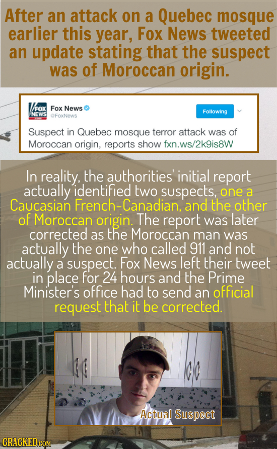 After an attack on a Quebec mosque earlier this year, Fox News tweeted an update stating that the suspect was of Moroccan origin. V/FOX Fox News Follo